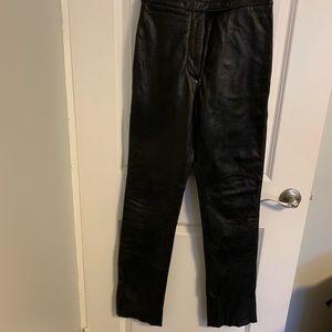 Wilson's Black Leather Straight Leg pants Size 4